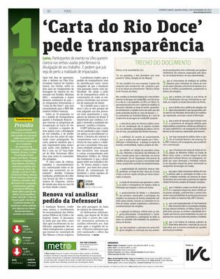 Trecho da Carta do Rio Doce publicada no Jornal Metro