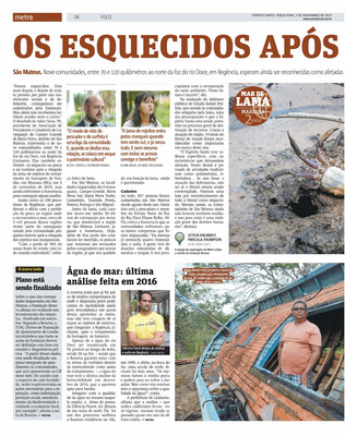 Reportagem Jornal Metro - Espírito Santo sobre a tragédia crime Rio Doce/Mariana