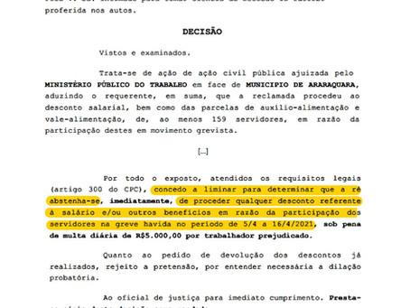 Justiça proíbe Prefeitura de Araraquara de descontar salário de grevistas da Educação