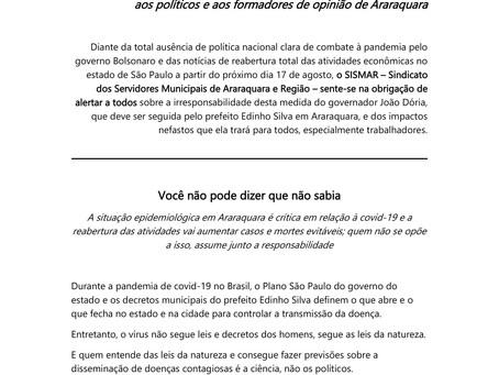 Manifesto contra a reabertura de escolas e atividades em Araraquara