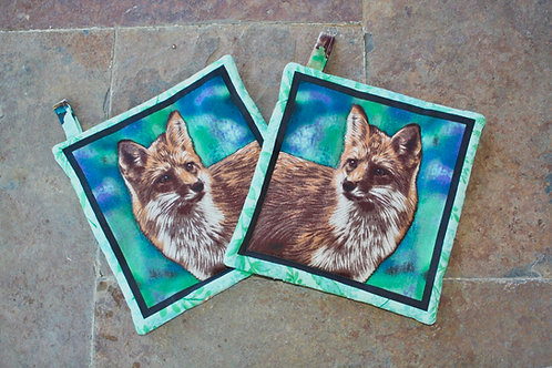 Pair of Foxes (Green) Pot Holders