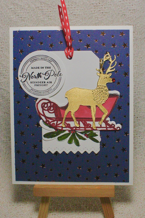 Hand-Crafted Reindeer Card - Christmas