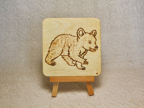 Wood Burned Bear Cub