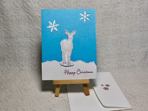 Hand-Crafted Deer Card - Christmas