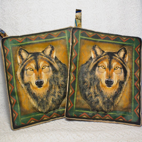 Pair of Wolf Pot Holders