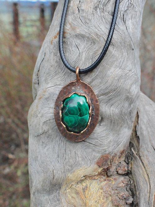 Malachite in Copper Necklace