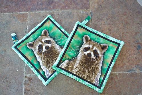 Pair of Raccoons (Green) Pot Holders