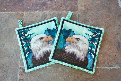 Pair of Bald Eagles (Green) Pot Holders