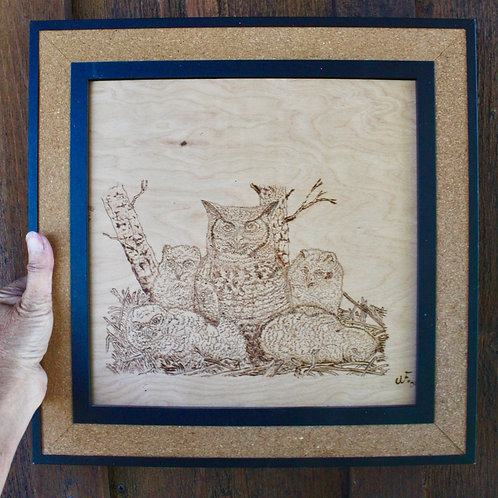 Framed Wood Burned Owl Family