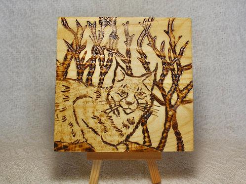 Wood Burned Lynx