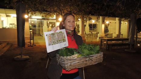 Picking fresh veggies from the garden for dinner!
