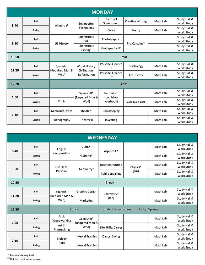 2for web - High School Schedule 2020-202