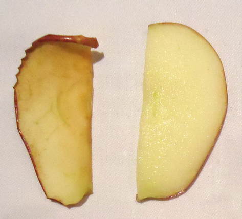 manzana sin y con Klareton