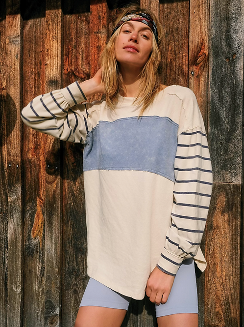 FREE PEOPLE Awesome Striped Tee