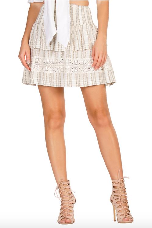 ELAN Ruffle Tribal Print Mini Skirt