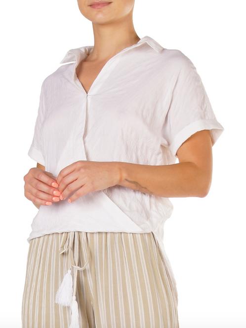 ELAN Crinkle Hi-Low shirt