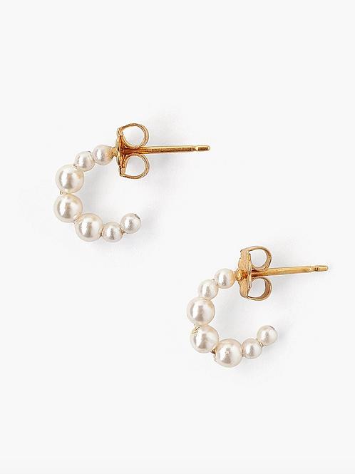 CHAN LUU Petite Cream Pearl Holly Hoop Earrings