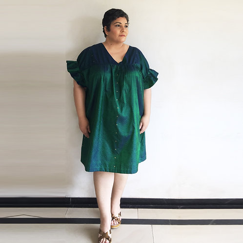 Silk Puffed Dress