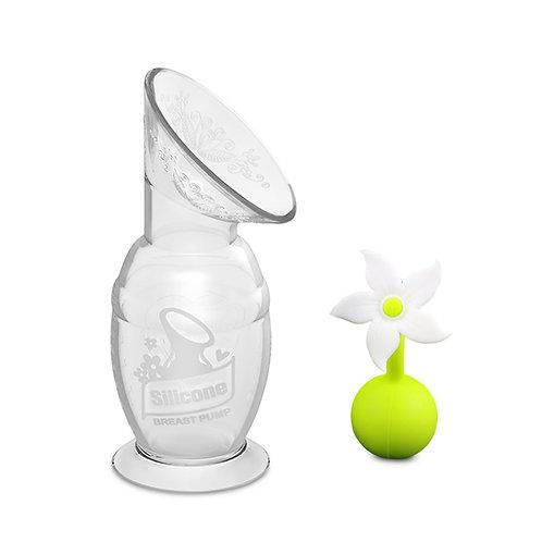 Haakaaシリコーン搾乳器(150ml)フラワーストッパー(ホワイト)セット