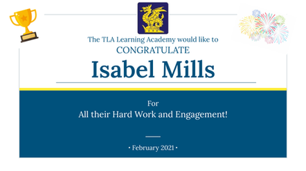 Isabel Mills Feb Certificate