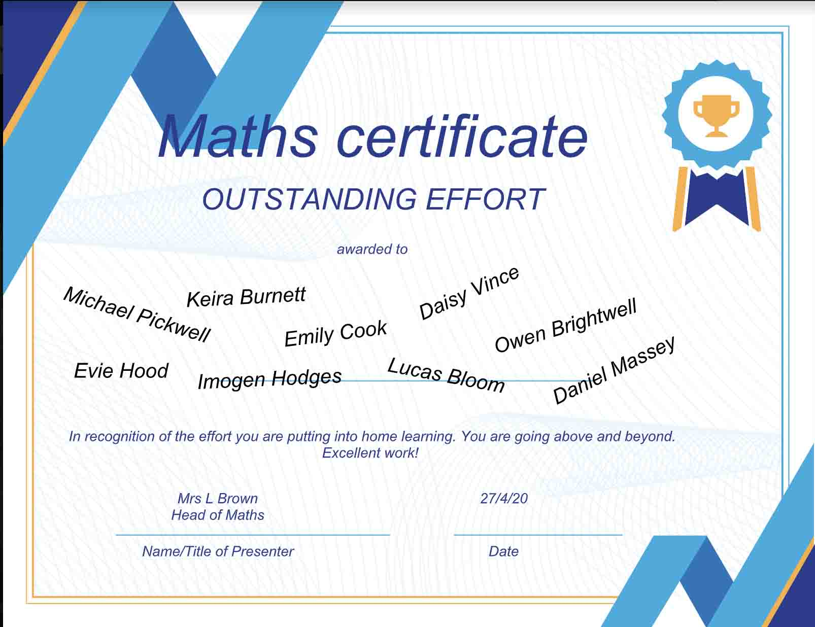 27/04/20 - Outstanding work in Mathsn