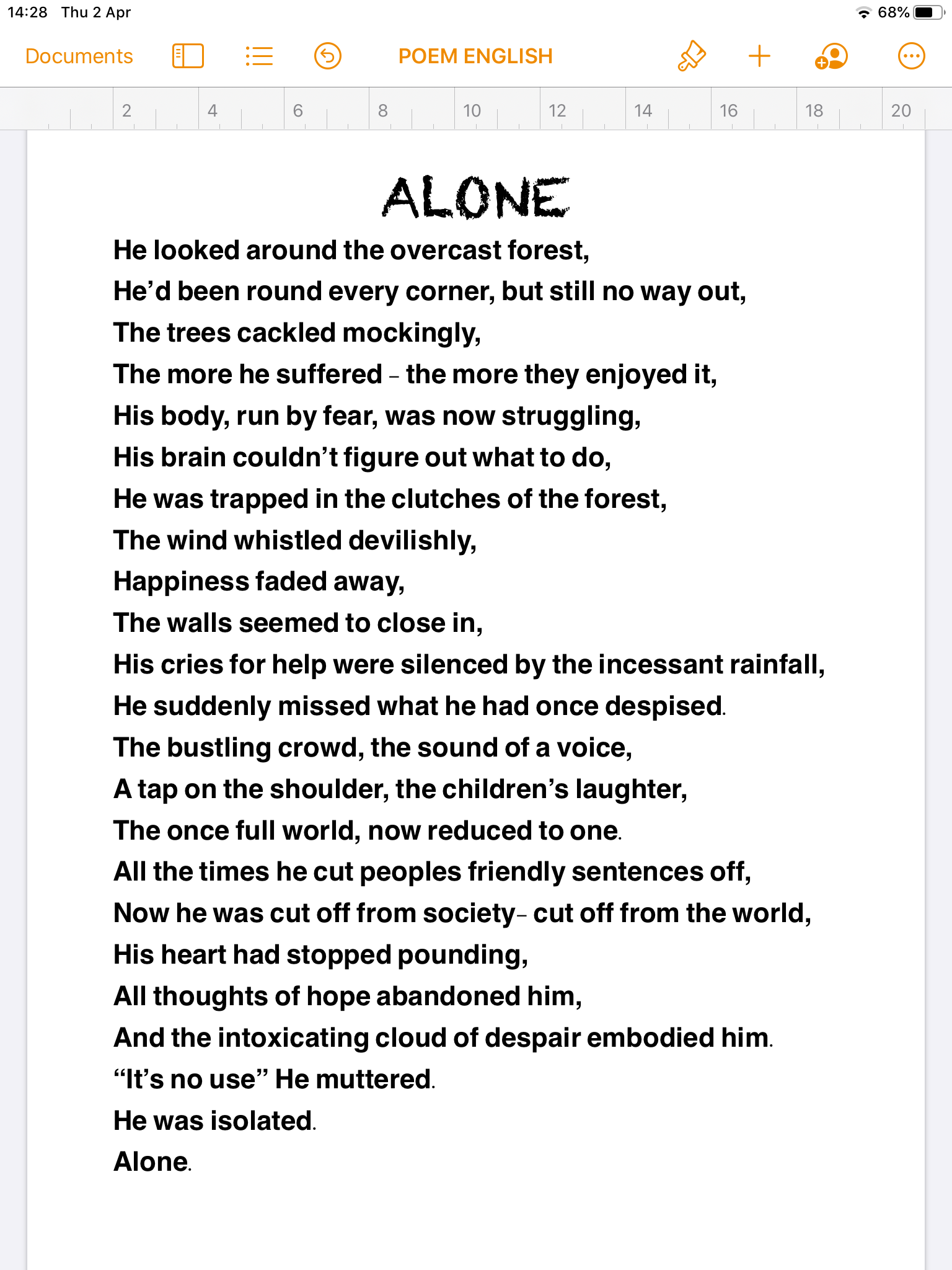 27/04/20 - Alone