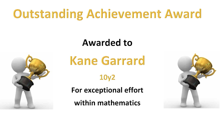 27/04/20 - Outstanding Work by Kane Garrad in Maths