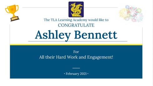 Asheley Bennett Engagement Certificate