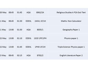 GCSE Exams w/c 20 May 2019
