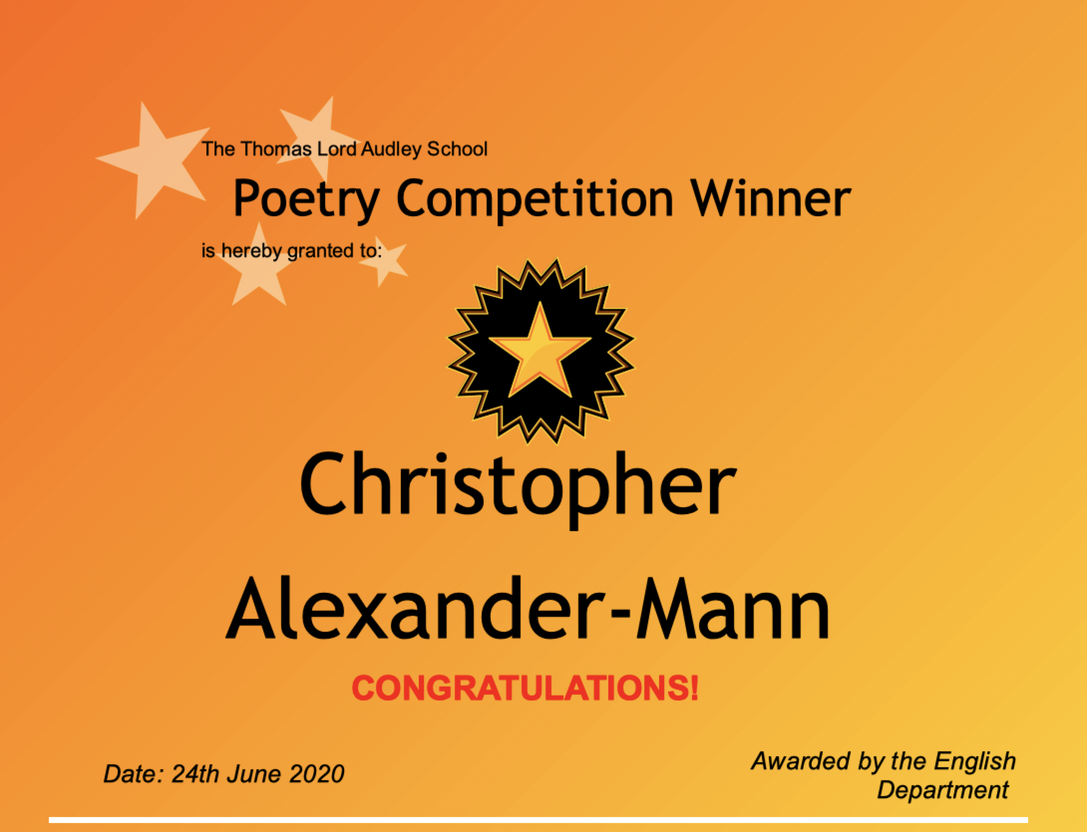 24/06/20 - Poetry Competition Winner