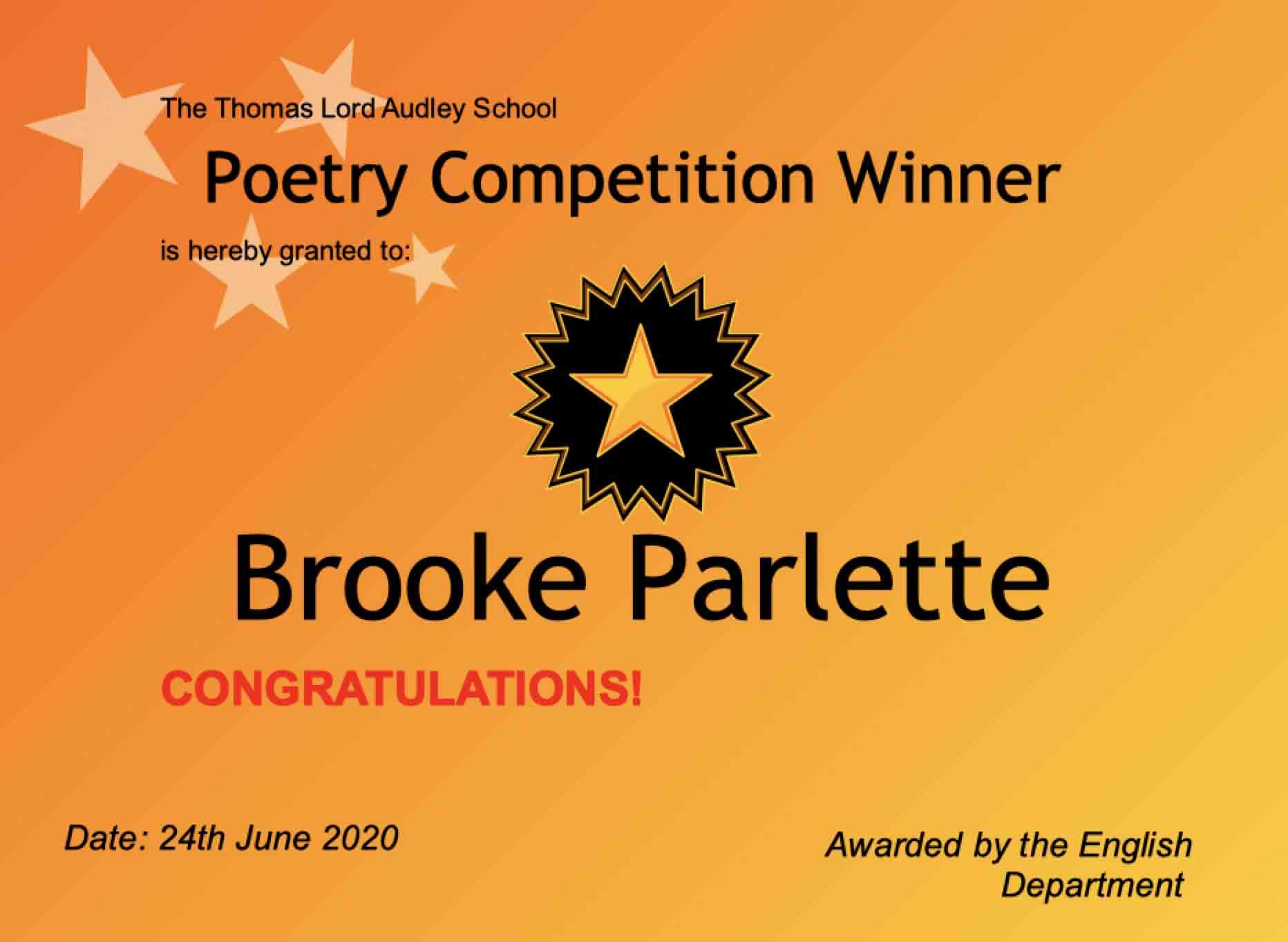 24/06/20 - Poetry Winner