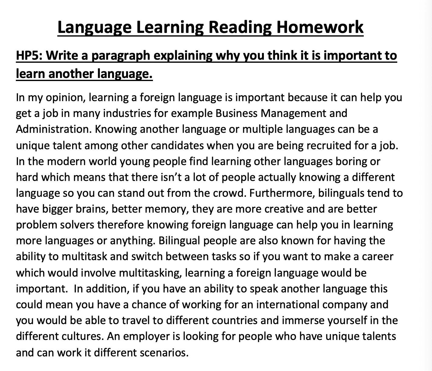 27/04/20 - Language Reading Homework