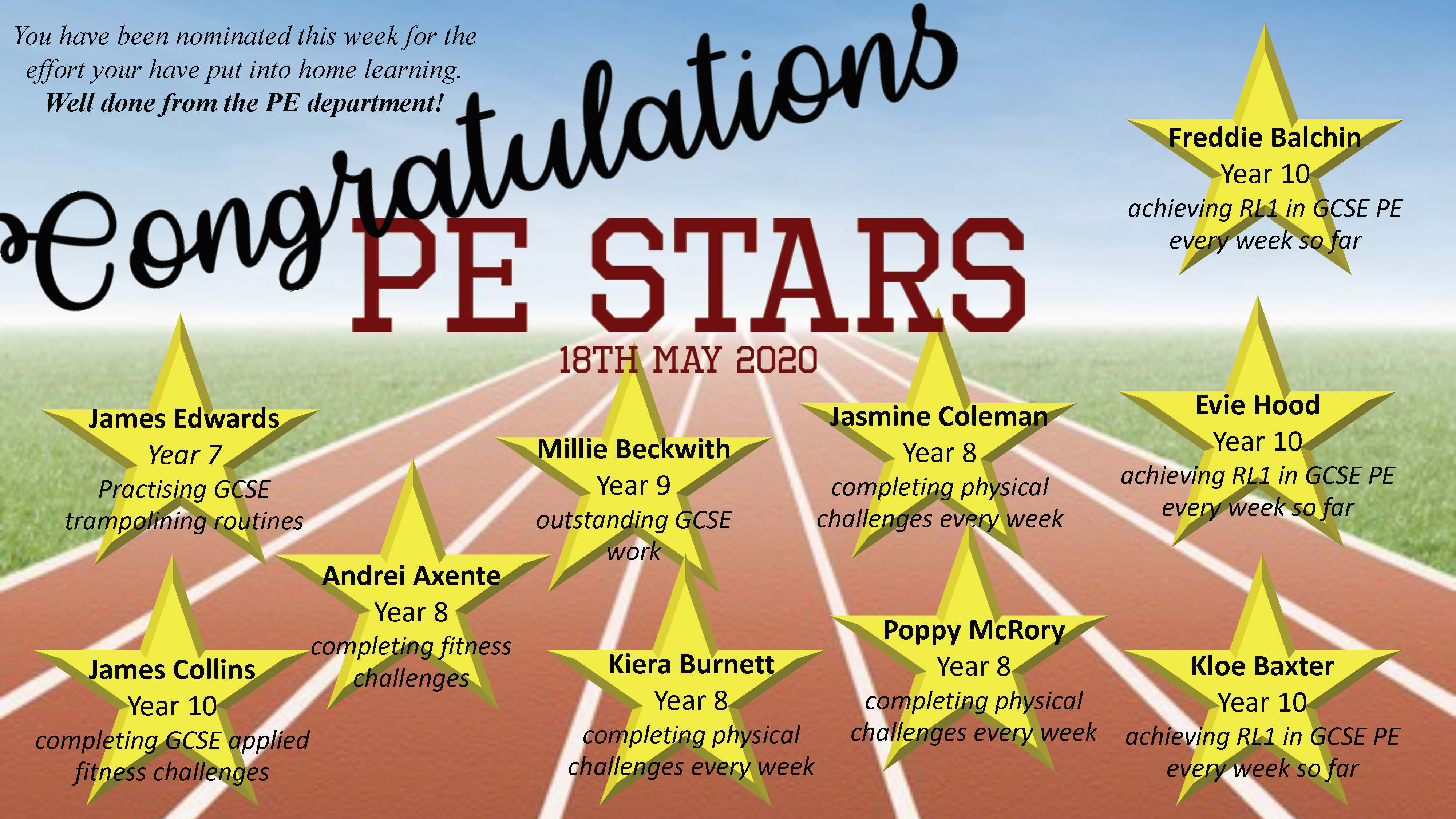 03/06/20 - Home Learning PE Stars Poster