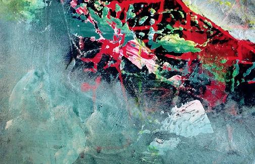 Abstrakt maleri teknik med svamp