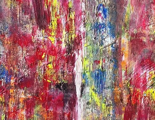 Abstrakt maleri lavet med malerrulle