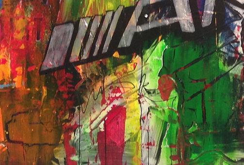 Abstrakt maleri med crackling effekt