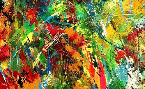 Abstrakt maler med spartel teknik