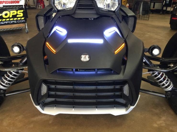 "Ryker HOOD 5x bright LED lights and bottom amber ""STAYON"""