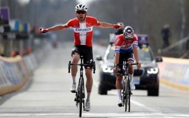 Tour of Flanders: Kasper Asgreen outsprints Mathieu van der Poel to claim first monument
