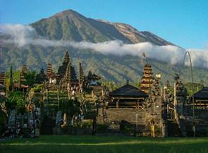 Besakih Temple with Mt Batu in the Background