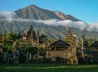Besakih Temple with Mt Batu in the Background
