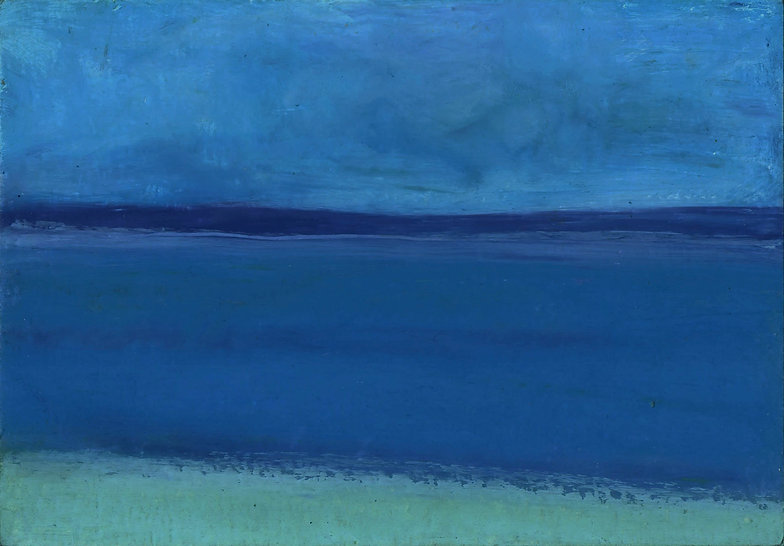 Seascape, abstract landscape, oil stick, oil pastel, drawing, blue