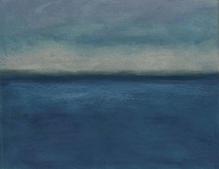 Abstract  seascape, storm, oil pastel
