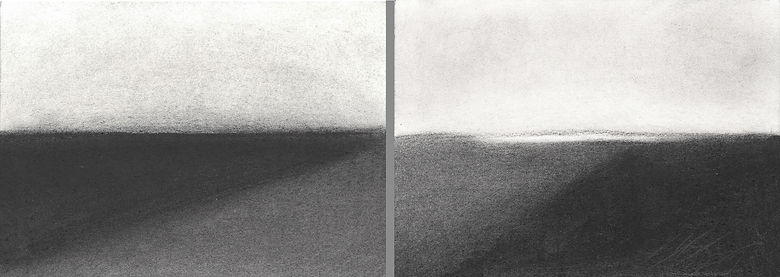charcoal on paper, diptych, abstract landscape, path