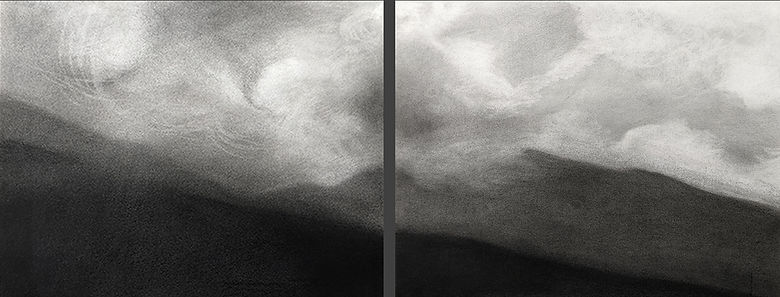 charcoal on paper, diptych, clouds, mountains, weather