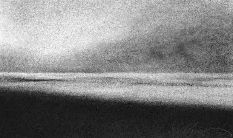 Surf City, LBI, Seascape, charcoal drawing, abstract landscape