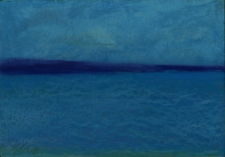 Seascape, Abstract landscape, ocean, blue, oil stick, oil pastel, drawing