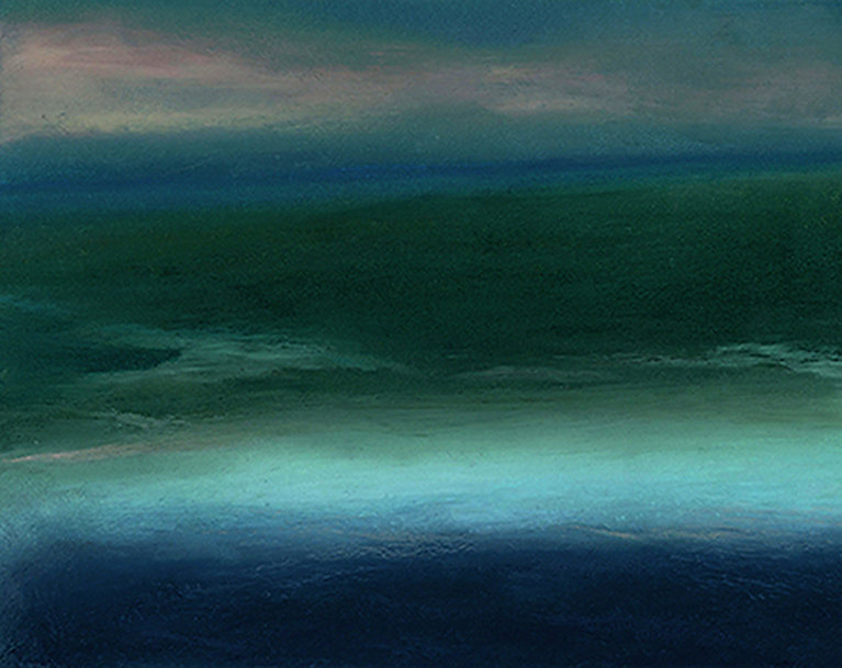 Abstract landscape, oil stick, oil pastel, drawing, blue, green, river, sea