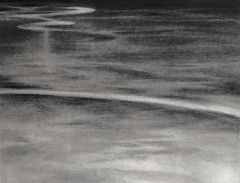 Pompton Lake, abstract water,  ice on lake, charcoal, drawing