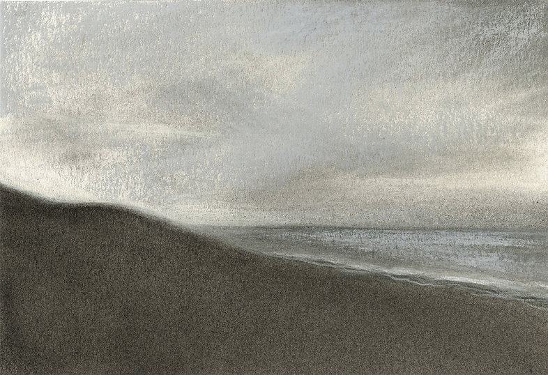 Surf City LBI, seascape, abstract landscape, charcoal & pastel, drawing, clouds